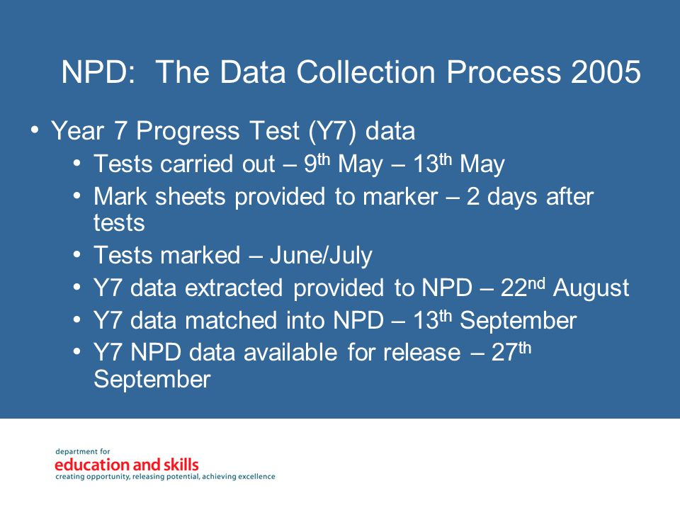 NPD: The Data Collection Process 2005 Year 7 Progress Test (Y7) data Tests carried out – 9 th May – 13 th May Mark sheets provided to marker – 2 days