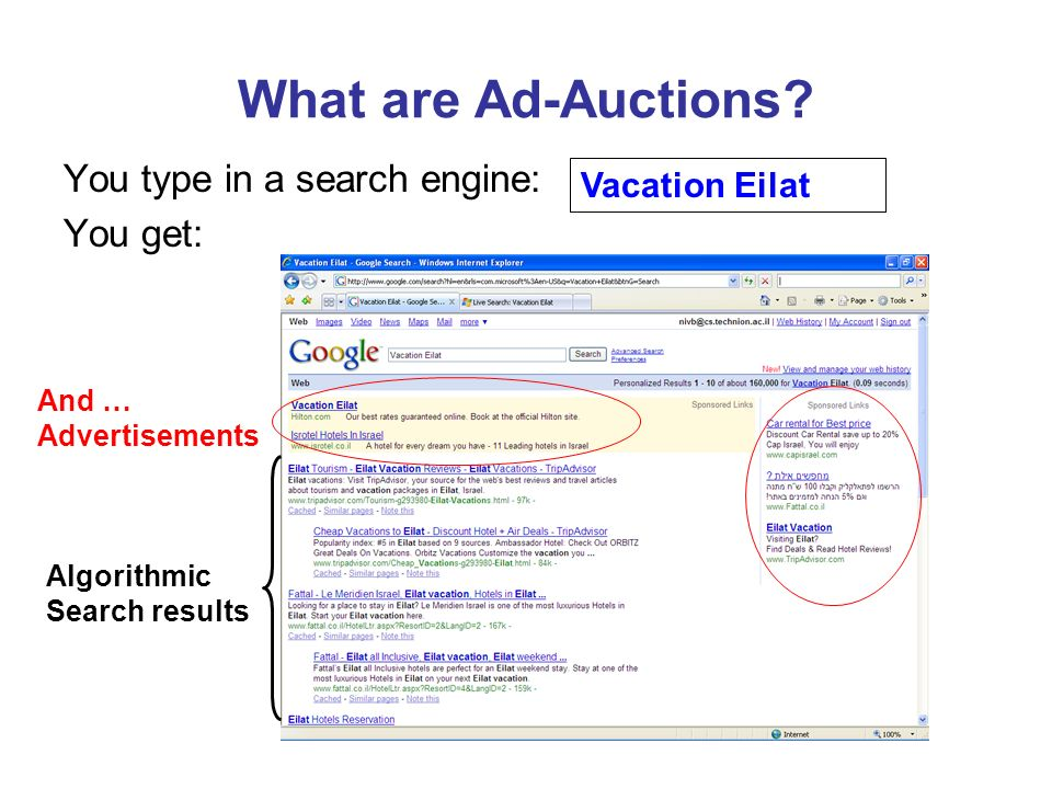 What are Ad-Auctions? You type in a search engine: You get: Algorithmic Search results And … Advertisements Vacation Eilat