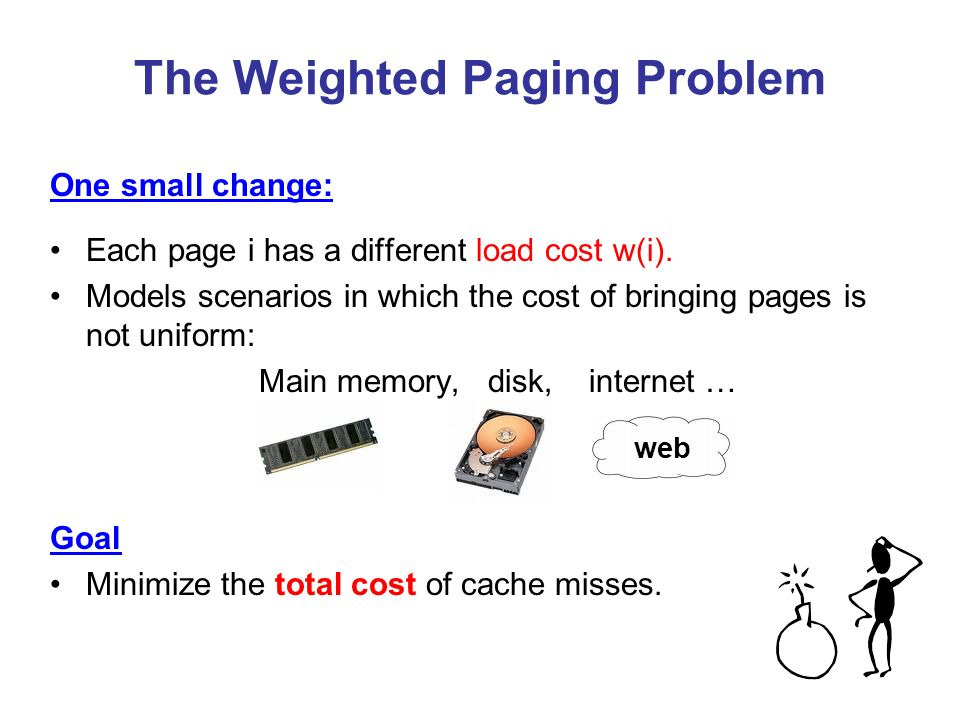 The Weighted Paging Problem One small change: Each page i has a different load cost w(i). Models scenarios in which the cost of bringing pages is not