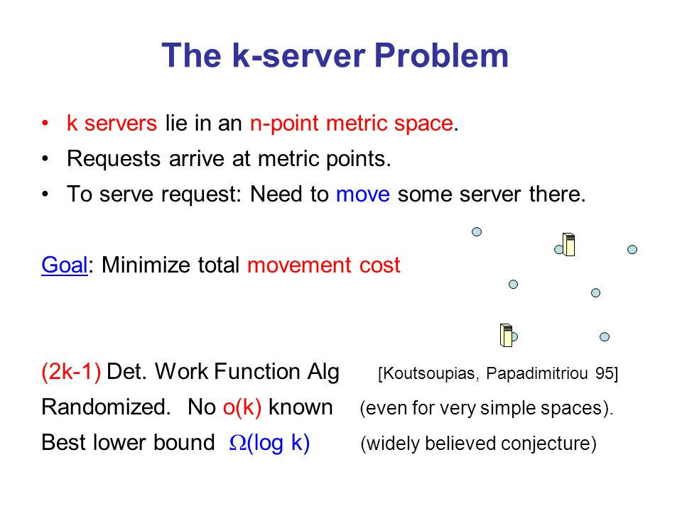 The k-server Problem k servers lie in an n-point metric space.