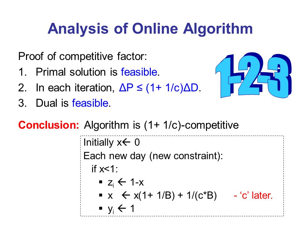 Analysis of Online Algorithm Proof of competitive factor: 1.Primal solution is feasible.