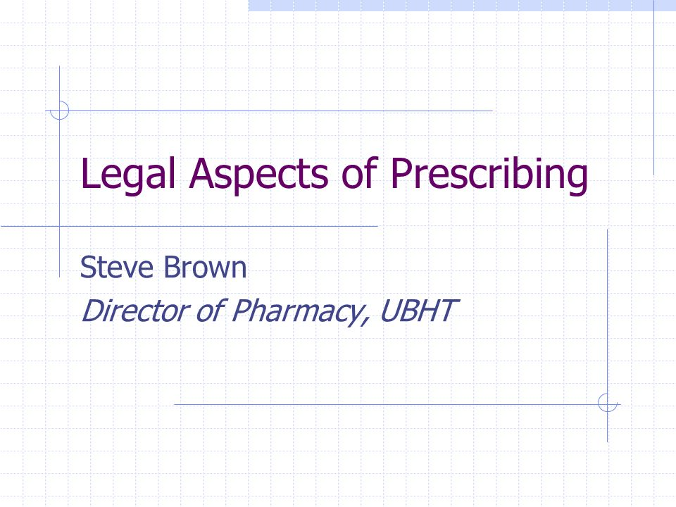 Legal Aspects of Prescribing Steve Brown Director of Pharmacy, UBHT