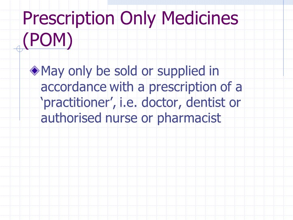 Prescription Only Medicines (POM) May only be sold or supplied in accordance with a prescription of a practitioner, i.e. doctor, dentist or authorised