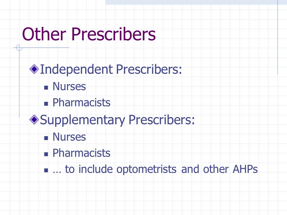 Other Prescribers Independent Prescribers: Nurses Pharmacists Supplementary Prescribers: Nurses Pharmacists … to include optometrists and other AHPs