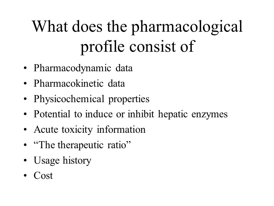 What does the pharmacological profile consist of Pharmacodynamic data Pharmacokinetic data Physicochemical properties Potential to induce or inhibit h