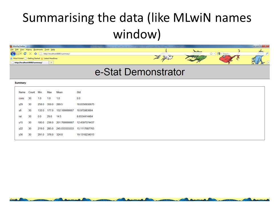 Summarising the data (like MLwiN names window)