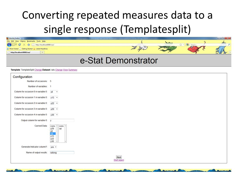 Converting repeated measures data to a single response (Templatesplit)