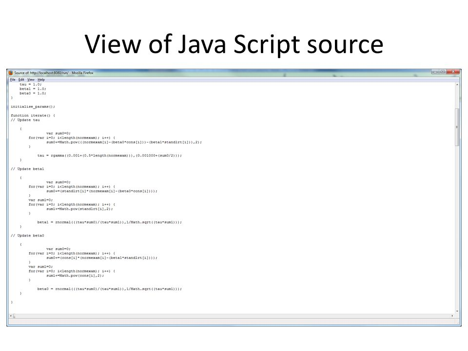 View of Java Script source