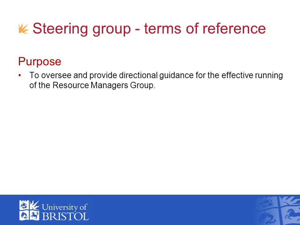 Steering group - terms of reference Purpose To oversee and provide directional guidance for the effective running of the Resource Managers Group.