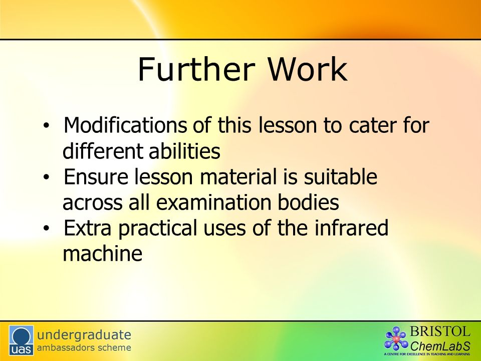 Further Work Modifications of this lesson to cater for different abilities Ensure lesson material is suitable across all examination bodies Extra prac