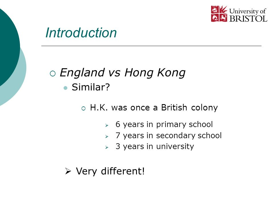 Introduction England vs Hong Kong Similar.Very different.