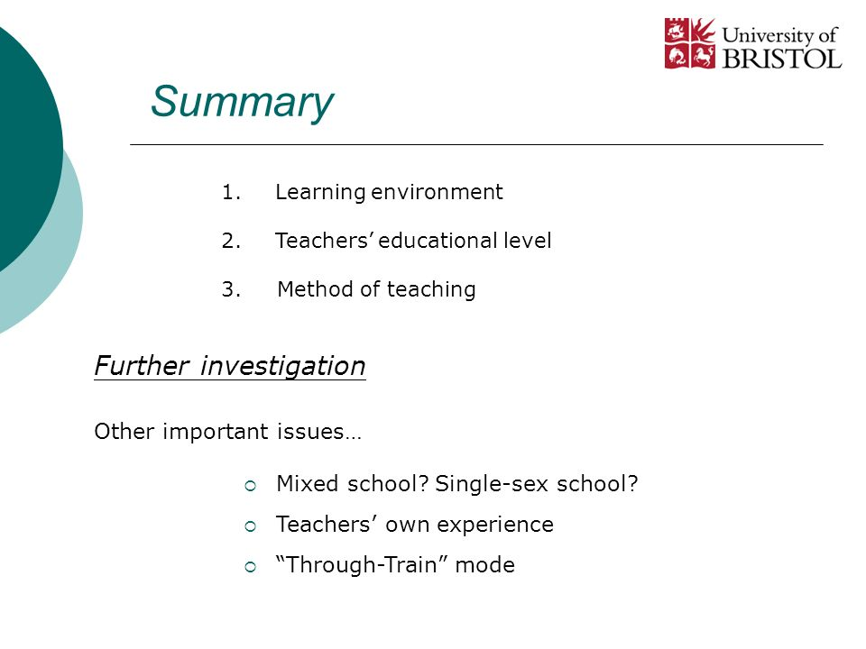 Summary Other important issues… Mixed school.Single-sex school.