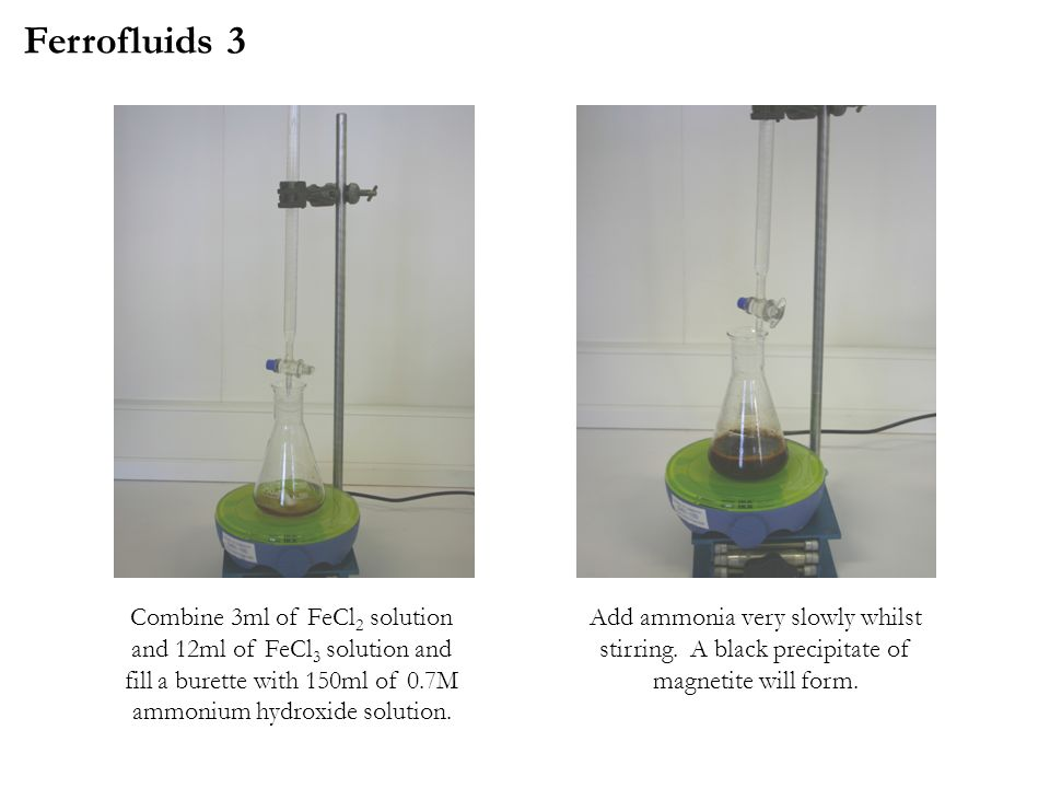 Combine 3ml of FeCl 2 solution and 12ml of FeCl 3 solution and fill a burette with 150ml of 0.7M ammonium hydroxide solution.