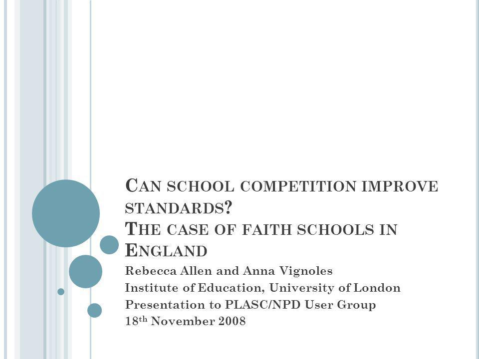 M OTIVATION FOR PAPER Faith schools, choice, competition improve standards or sorting.