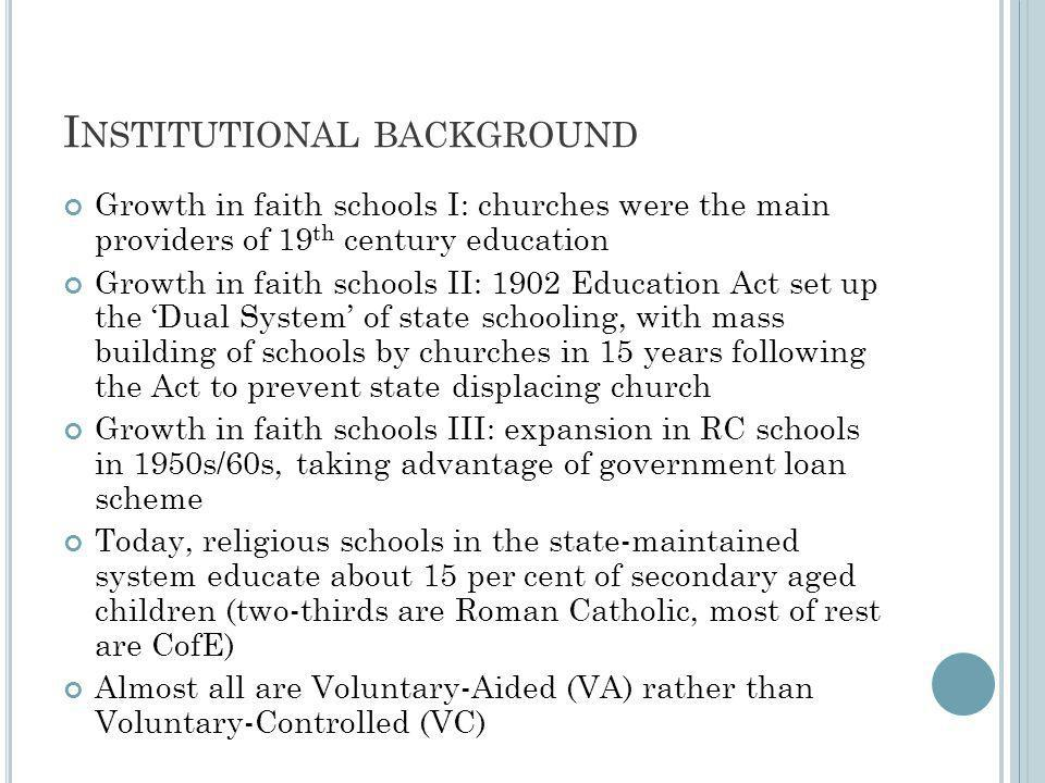 I NSTITUTIONAL BACKGROUND Growth in faith schools I: churches were the main providers of 19 th century education Growth in faith schools II: 1902 Education Act set up the Dual System of state schooling, with mass building of schools by churches in 15 years following the Act to prevent state displacing church Growth in faith schools III: expansion in RC schools in 1950s/60s, taking advantage of government loan scheme Today, religious schools in the state-maintained system educate about 15 per cent of secondary aged children (two-thirds are Roman Catholic, most of rest are CofE) Almost all are Voluntary-Aided (VA) rather than Voluntary-Controlled (VC)