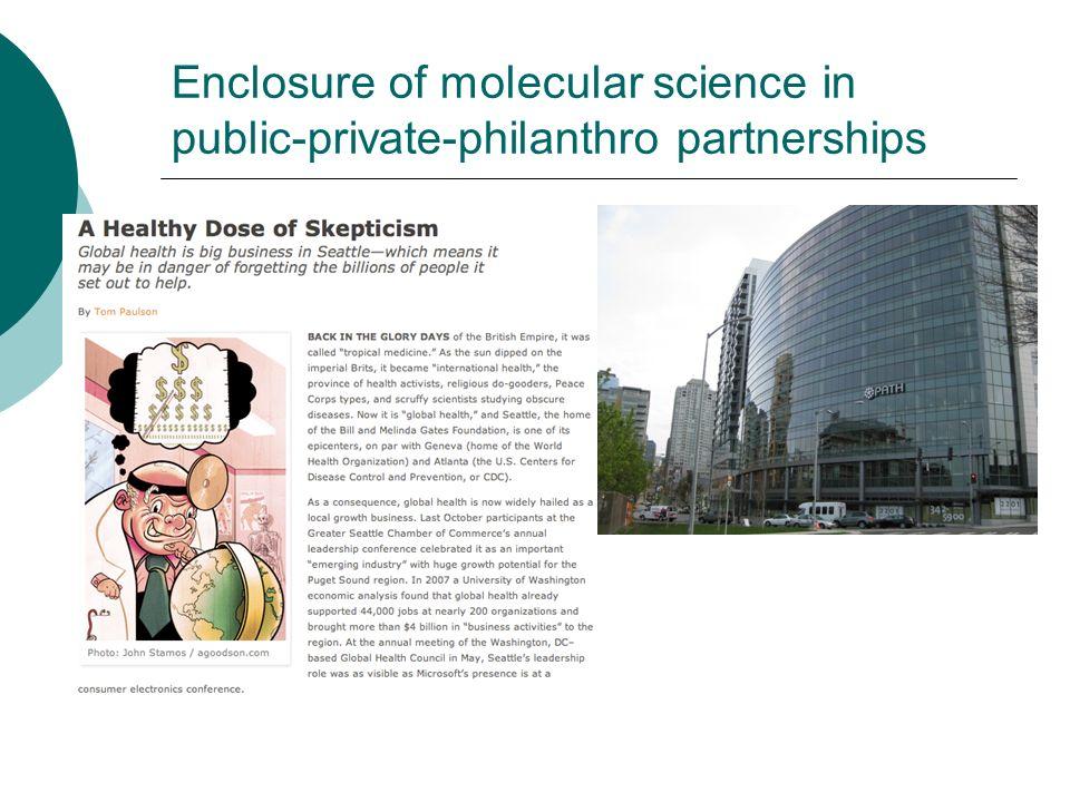 Enclosure of molecular science in public-private-philanthro partnerships