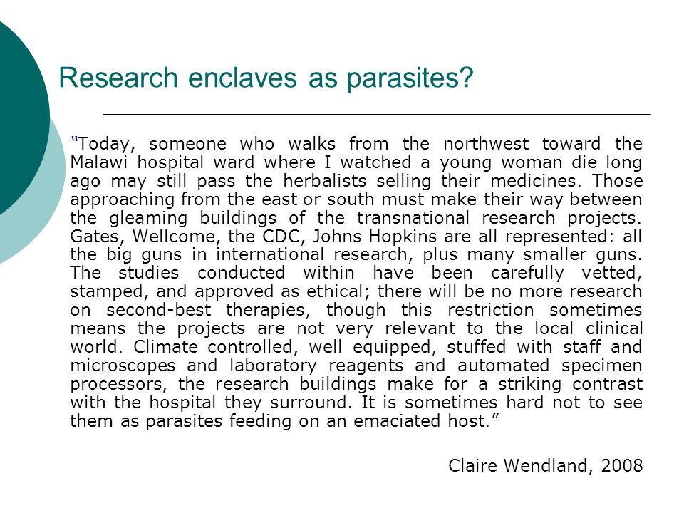 Research enclaves as parasites.