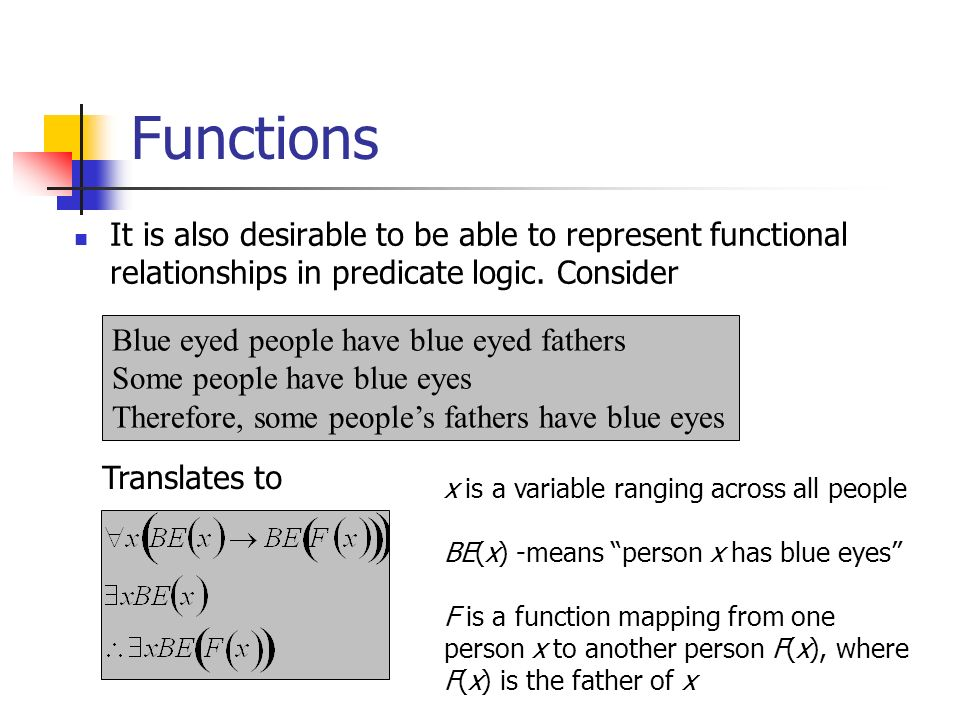 Functions It is also desirable to be able to represent functional relationships in predicate logic. Consider Blue eyed people have blue eyed fathers S