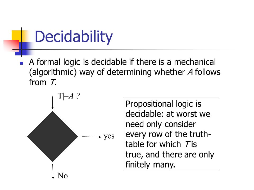 Decidability A formal logic is decidable if there is a mechanical (algorithmic) way of determining whether A follows from T.