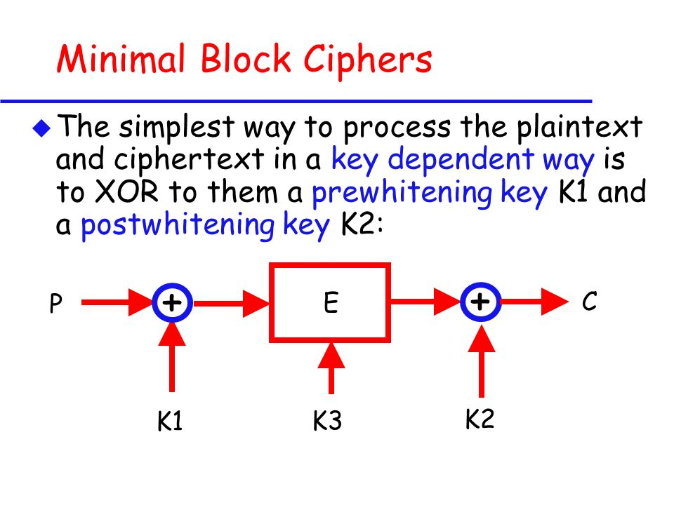 Minimal Block Ciphers u The simplest way to process the plaintext and ciphertext in a key dependent way is to XOR to them a prewhitening key K1 and a postwhitening key K2: E K3 + + C P K1 K2