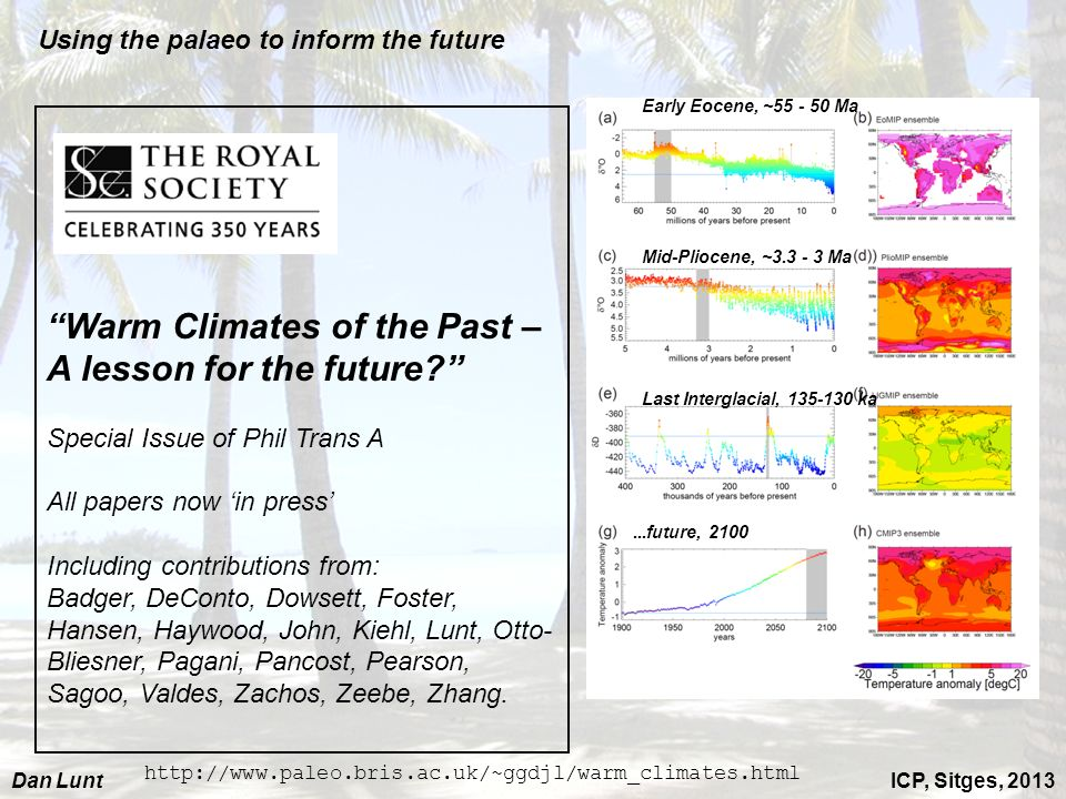 ICP, Sitges, 2013Dan Lunt Warm Climates of the Past – A lesson for the future? Special Issue of Phil Trans A All papers now in press Including contrib