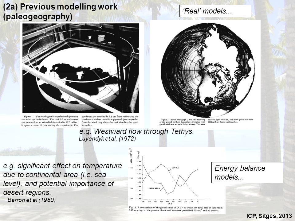 ICP, Sitges, 2013 (2a) Previous modelling work (paleogeography) Luyendyk et al, (1972) Barron et al (1980) Real models... Energy balance models... e.g