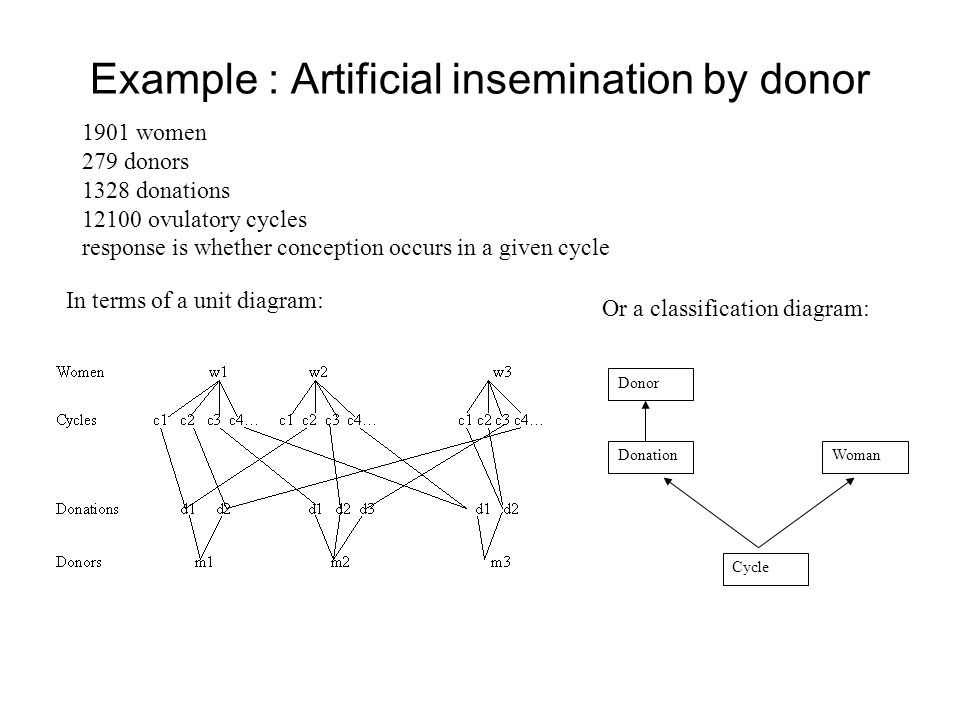 Example : Artificial insemination by donor 1901 women 279 donors 1328 donations 12100 ovulatory cycles response is whether conception occurs in a give