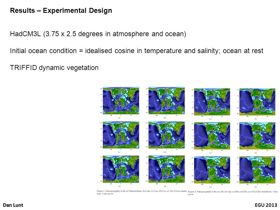 Dan LuntEGU 2013Dan Lunt Results – Experimental Design HadCM3L (3.75 x 2.5 degrees in atmosphere and ocean) Initial ocean condition = idealised cosine in temperature and salinity; ocean at rest TRIFFID dynamic vegetation