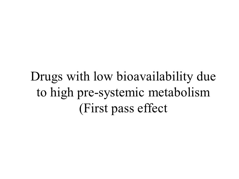 Drugs with low bioavailability due to high pre-systemic metabolism (First pass effect