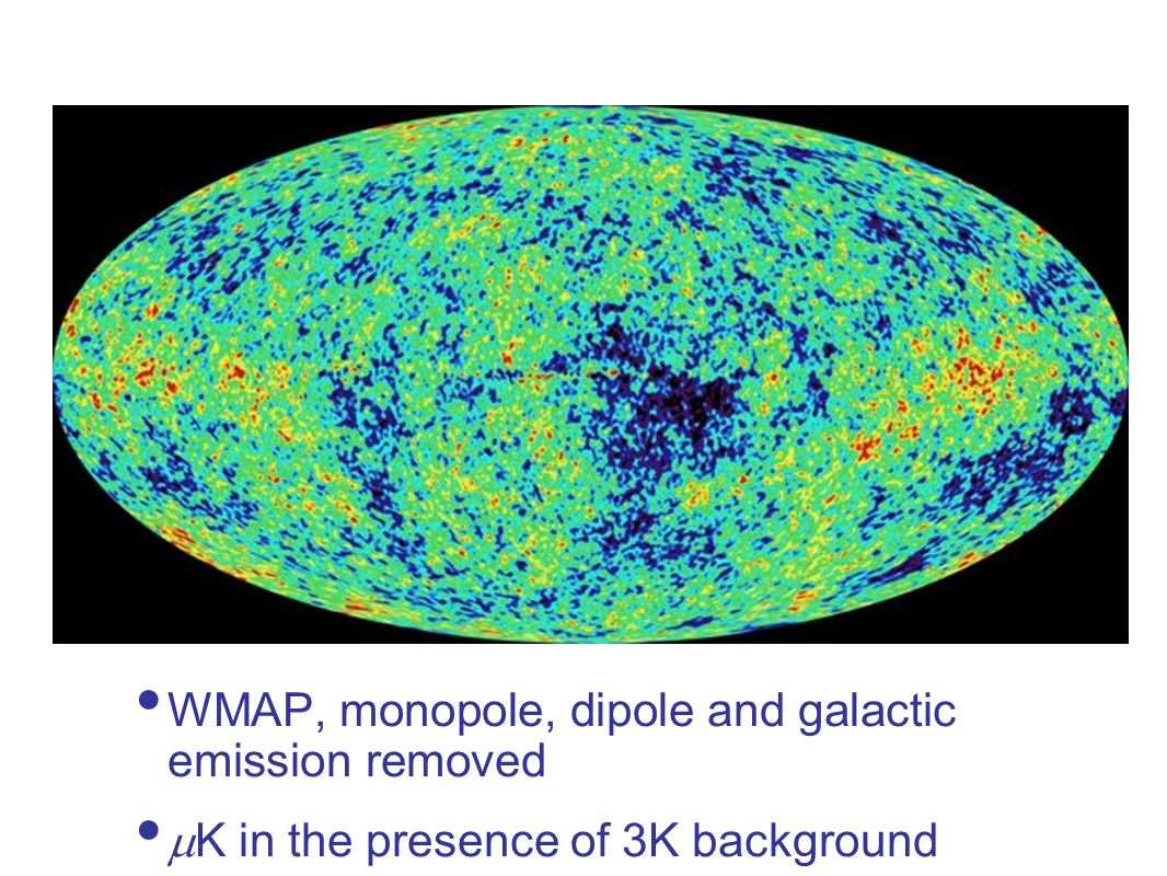 WMAP, monopole, dipole and galactic emission removed K in the presence of 3K background