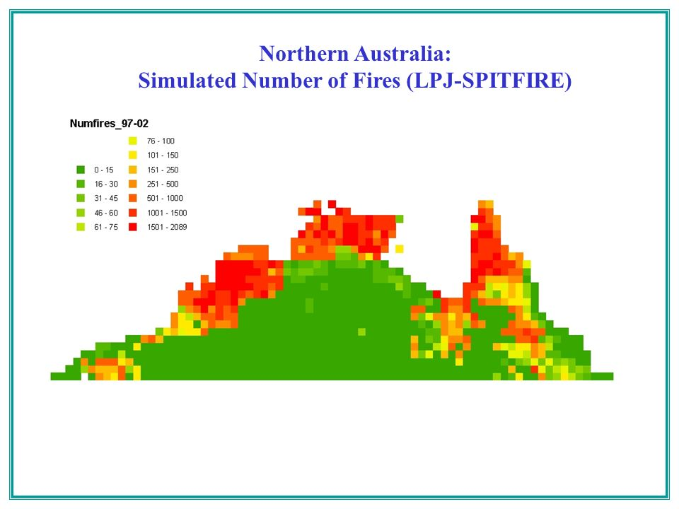 Northern Australia: Simulated Number of Fires (LPJ-SPITFIRE)