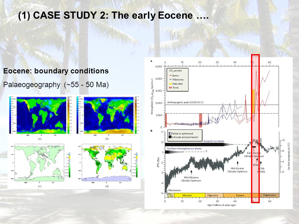 (1) CASE STUDY 2: The early Eocene …. Eocene: boundary conditions Palaeogeography (~55 - 50 Ma)