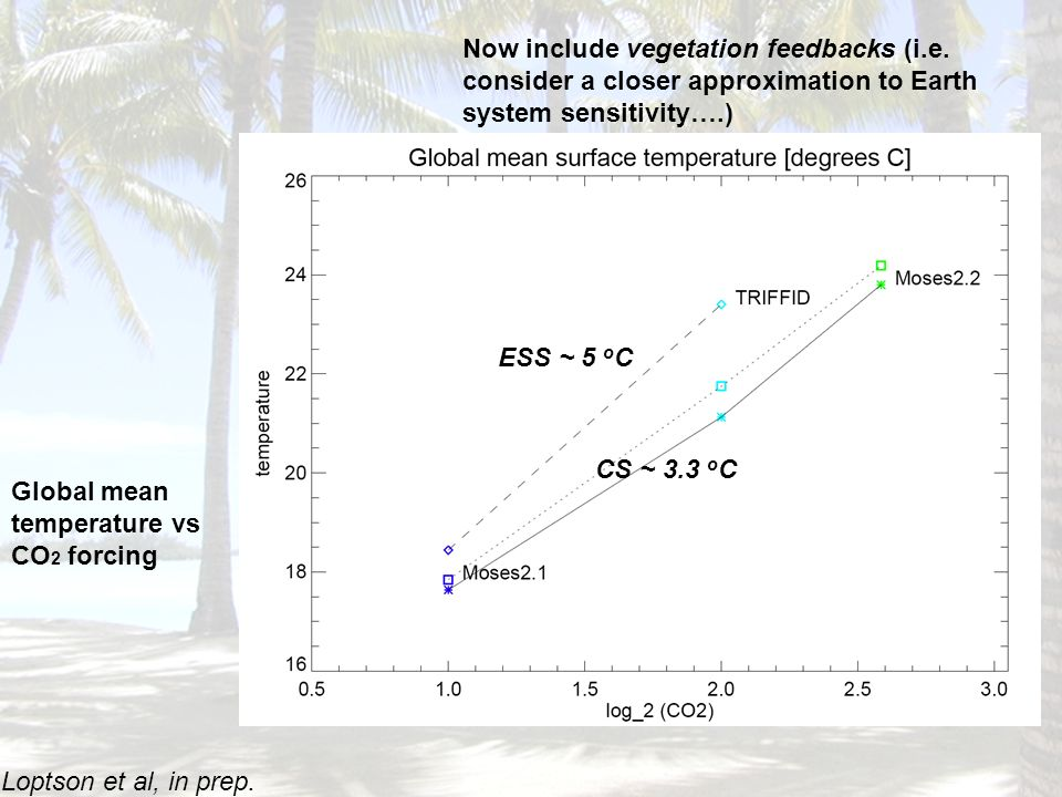 Global mean temperature vs CO 2 forcing Now include vegetation feedbacks (i.e.