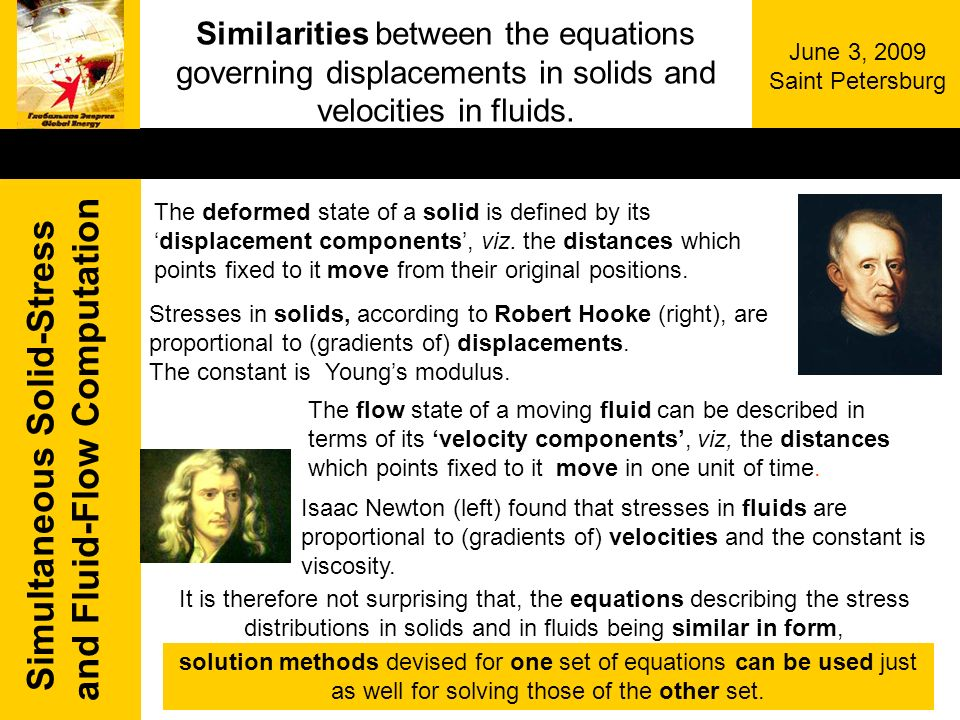 Simultaneous Solid-Stress and Fluid-Flow Computation June 3, 2009 Saint Petersburg Similarities between the equations governing displacements in solid