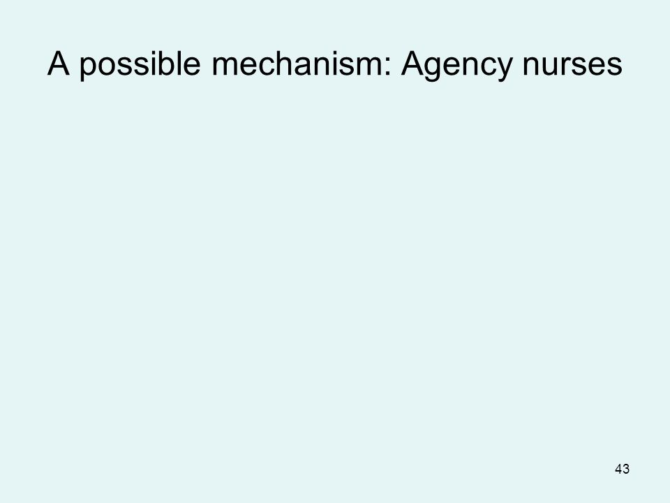 43 A possible mechanism: Agency nurses