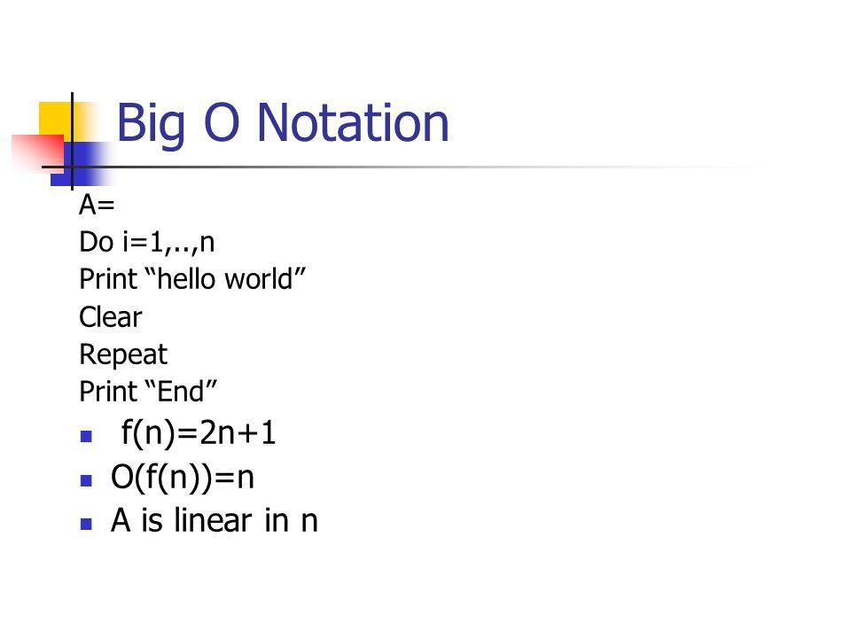 Big O Notation A= Do i=1,..,n Print hello world Clear Repeat Print End f(n)=2n+1 O(f(n))=n A is linear in n