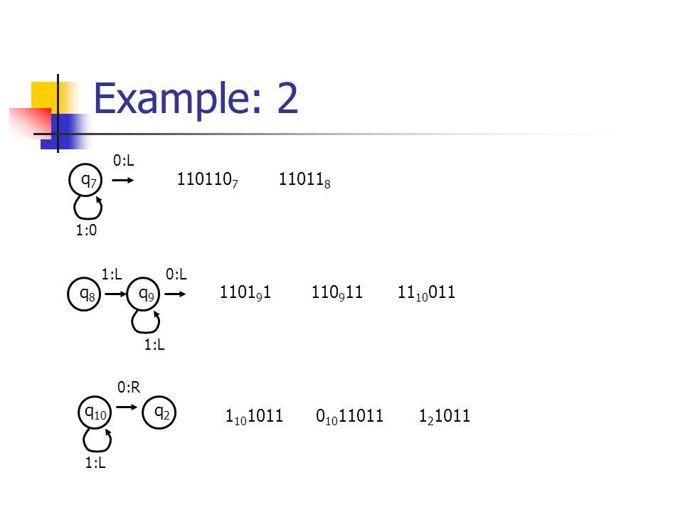 Example: 2 q7q7 1:0 0:L 110110 7 11011 8 q8q8 q9q9 1:L 0:L 1101 9 1110 9 1111 10 011 q 10 1:L 0:R q2q2 1 10 10110 10 110111 2 1011