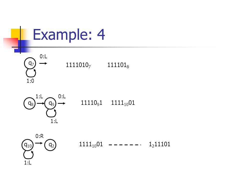 Example: 4 q7q7 1:0 0:L 1111010 7 111101 8 q8q8 q9q9 1:L 0:L 11110 9 11111 10 01 q 10 1:L 0:R q2q2 1111 10 011 2 11101