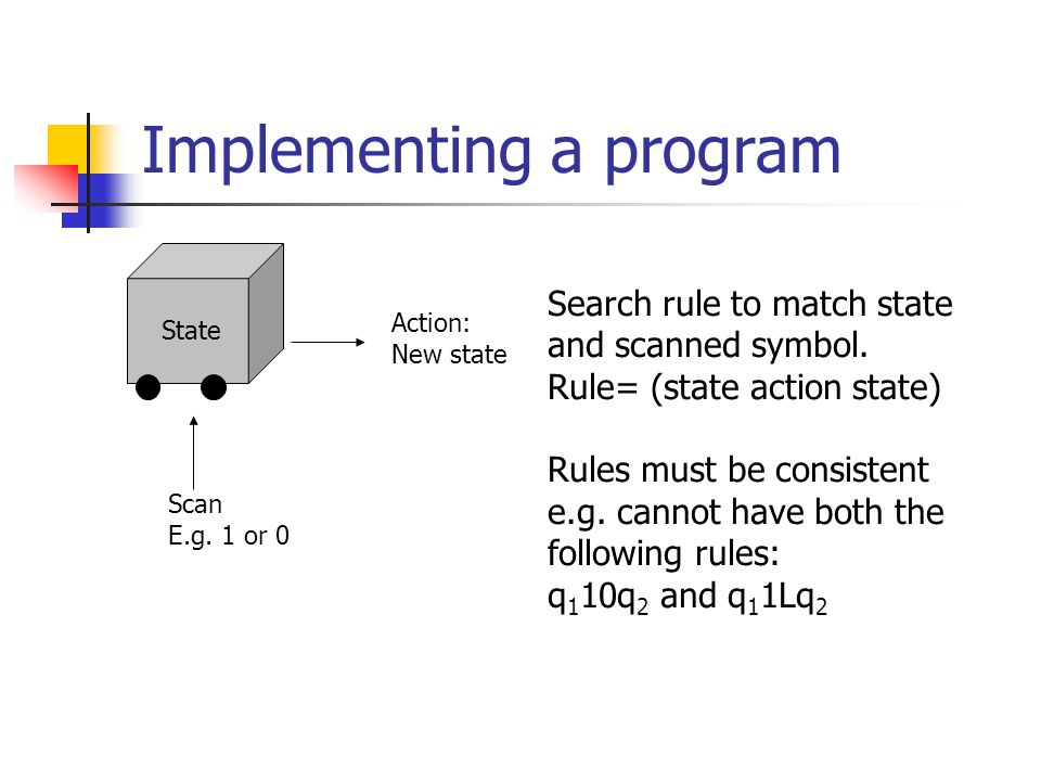 Implementing a program State Action: New state Search rule to match state and scanned symbol.