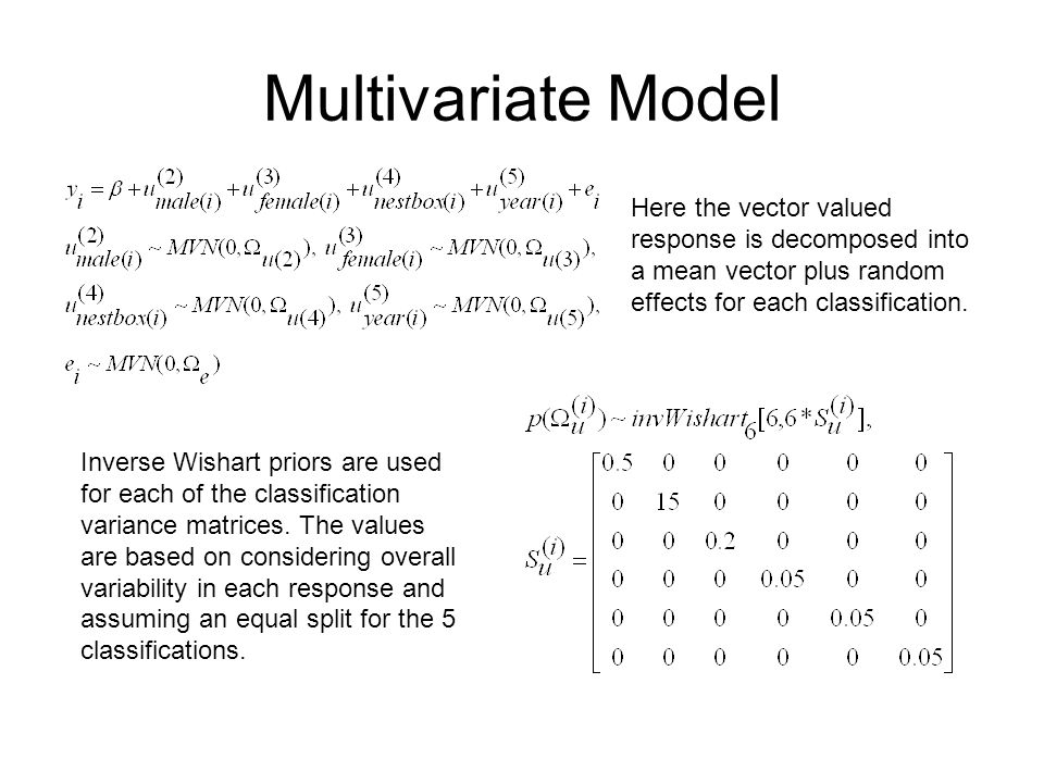 Multivariate Model Here the vector valued response is decomposed into a mean vector plus random effects for each classification. Inverse Wishart prior