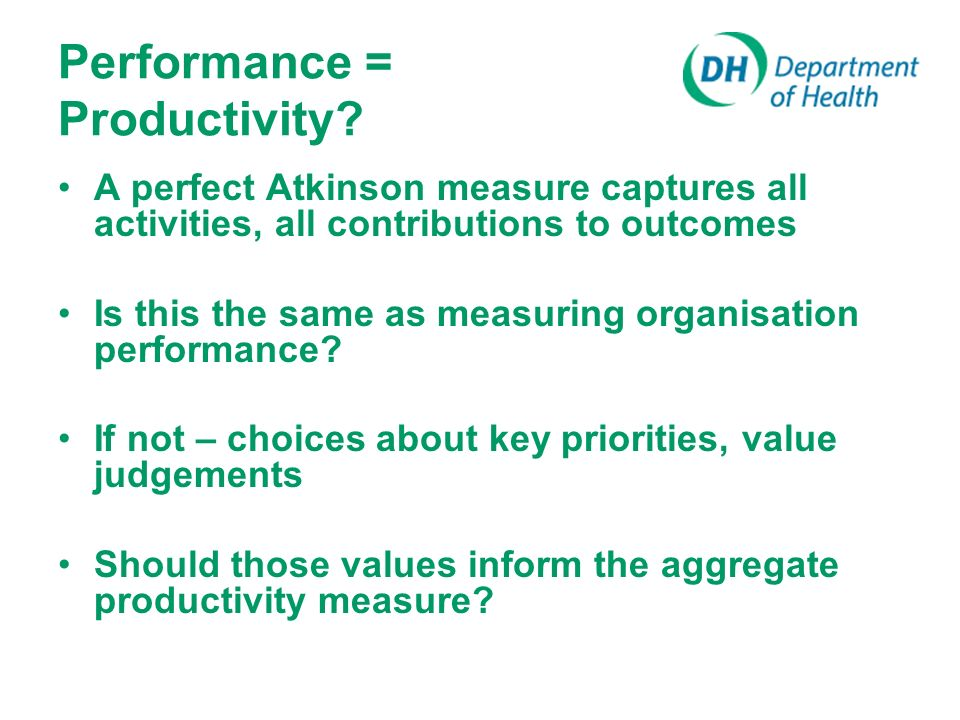Performance = Productivity.
