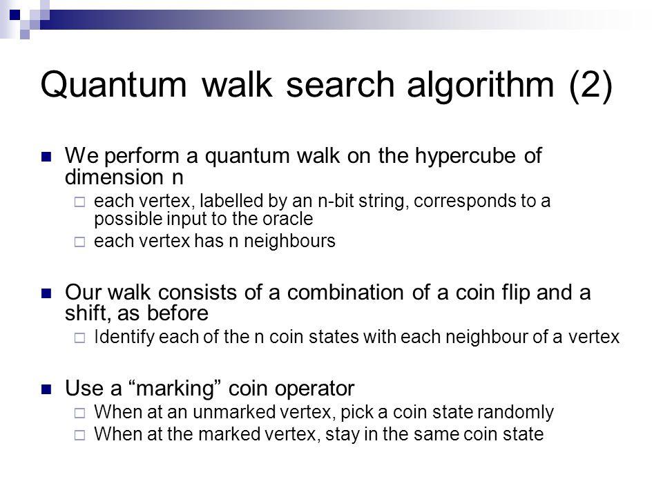 Quantum walk search algorithm (2) We perform a quantum walk on the hypercube of dimension n each vertex, labelled by an n-bit string, corresponds to a