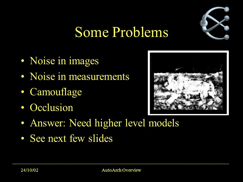24/10/02AutoArch Overview Some Problems Noise in images Noise in measurements Camouflage Occlusion Answer: Need higher level models See next few slide