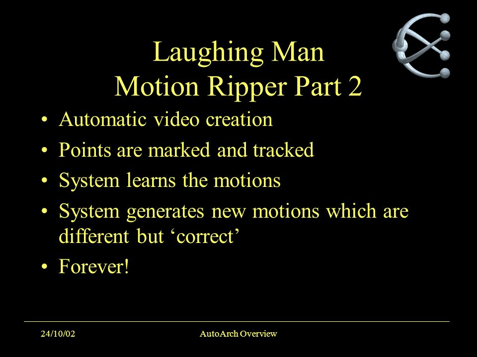 24/10/02AutoArch Overview Laughing Man Motion Ripper Part 2 Automatic video creation Points are marked and tracked System learns the motions System ge