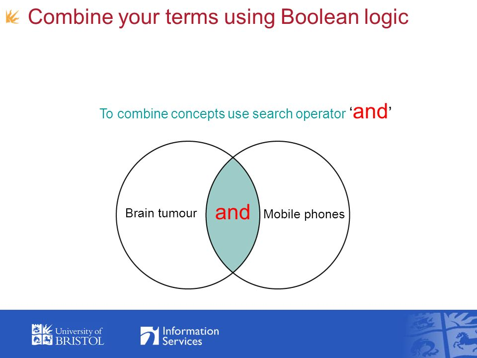 Combine your terms using Boolean logic and Mobile phones Brain tumour To combine concepts use search operator and