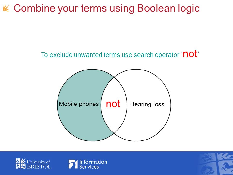 Combine your terms using Boolean logic Mobile phones not Hearing loss To exclude unwanted terms use search operator not