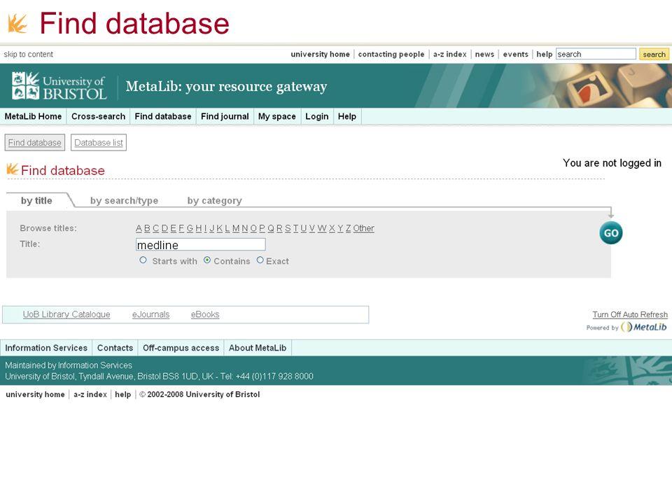 Find database medline