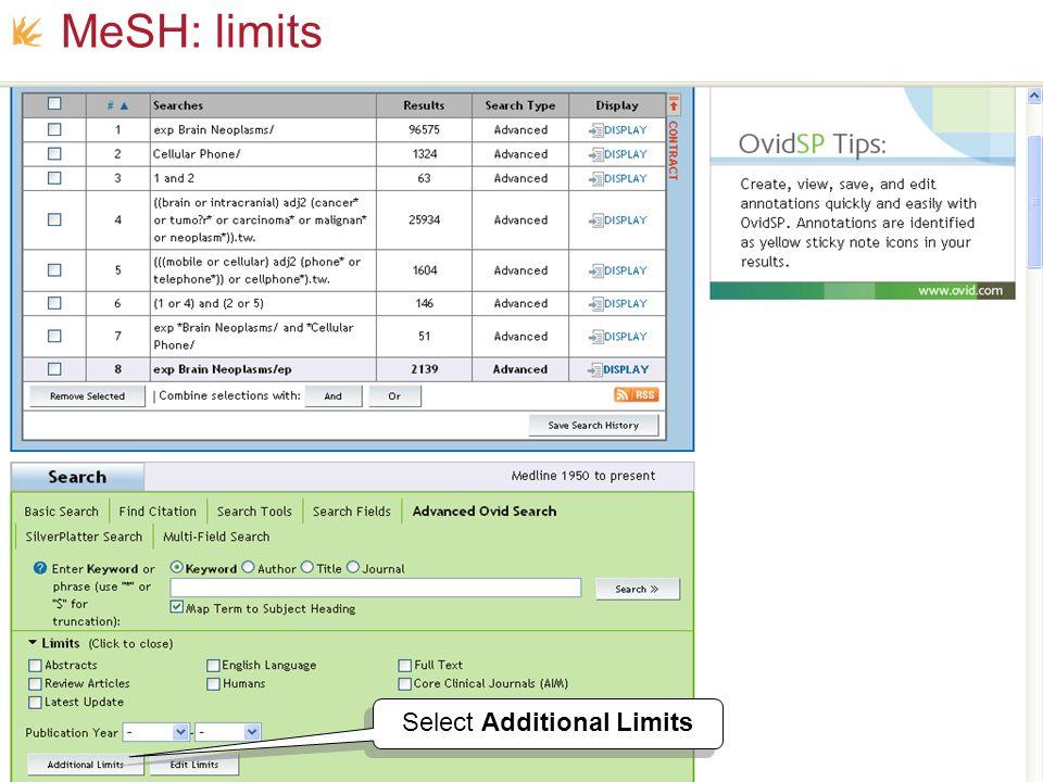 Select Additional Limits MeSH: limits