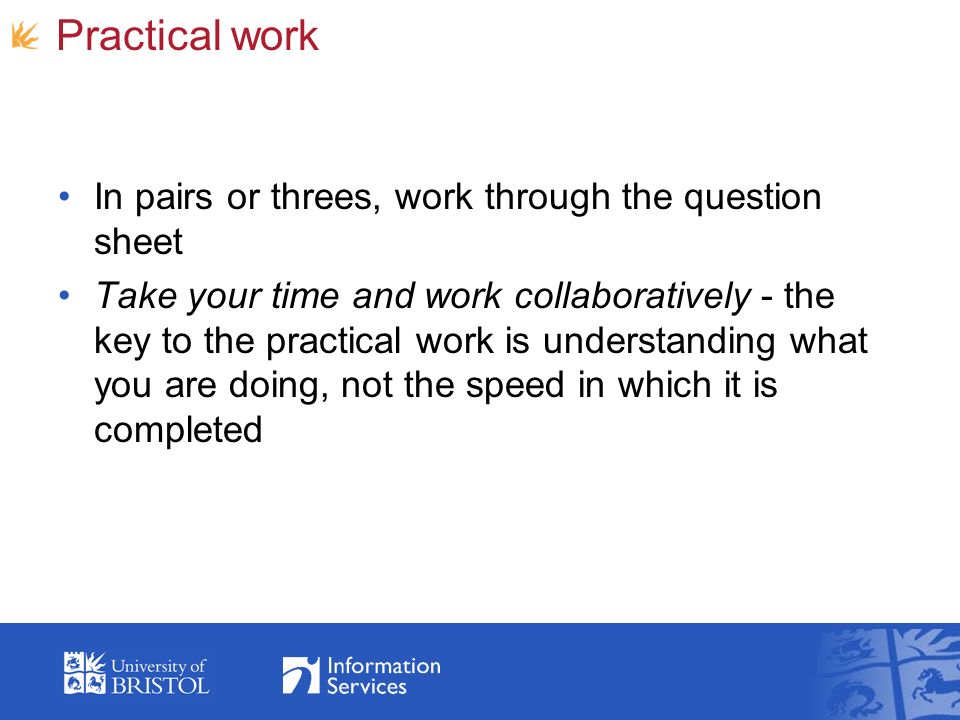 Practical work In pairs or threes, work through the question sheet Take your time and work collaboratively - the key to the practical work is understanding what you are doing, not the speed in which it is completed