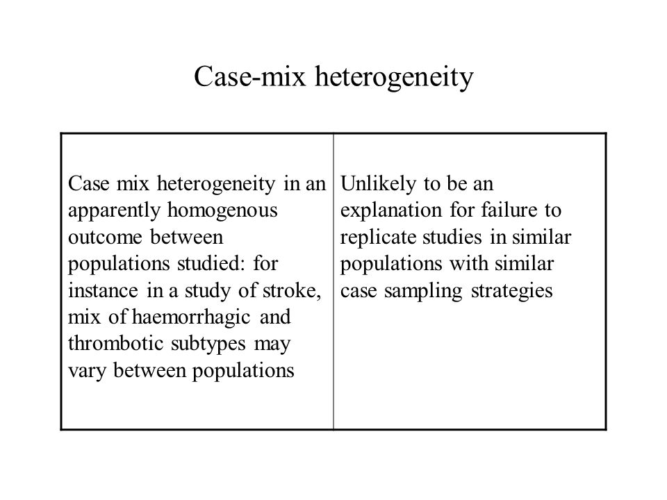 Case mix heterogeneity in an apparently homogenous outcome between populations studied: for instance in a study of stroke, mix of haemorrhagic and thr
